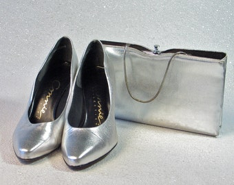 Shoes and Purse Set Metallic Silver 1980's Connie Pumps size 7 Combo