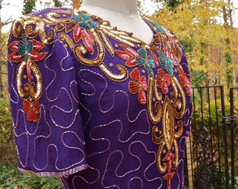 Beaded Dress Laurence Kazar Purple Silk Sequined and Beaded Silk 80's Dress size M