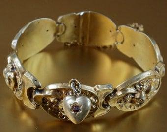 Czech Victorian Heart Charm Bracelet Gold Vermeil Sterling Silver Repousse Heart Charm, Flowers and Fruit Motif
