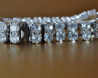 Czech Vintage Clear Diamond Rhinestone Bracelet 60's Double Row Cocktail Wedding Bridal