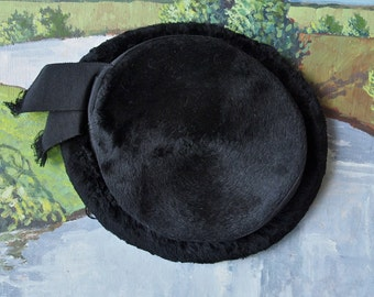 Victorian Black Hat Beaver Silk Pile Plush Grosgrain Ribbon Steampunk