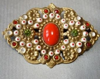 Czech Vintage Art Nouveau Brooch Brass Enamel and Rhinestones Red Cabochon Peridot and Ruby Rhinestones