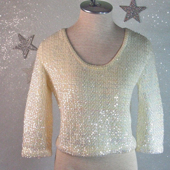 1960's All Sequin Iridescent 3/4 Sleeve Pullover Knit Cropped
