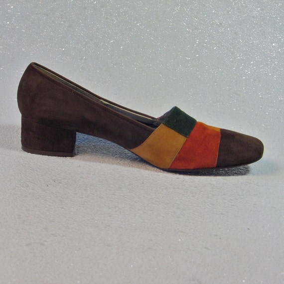RESERVED FOR SUE-1970's Autumn Patchwork Brown Green Tan Suede Low Heel Loafer size 8.5 Dark Shadows