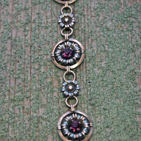 1940's 12 kt Gold Filled Amethyst Color Stones Floral Link Bracelet