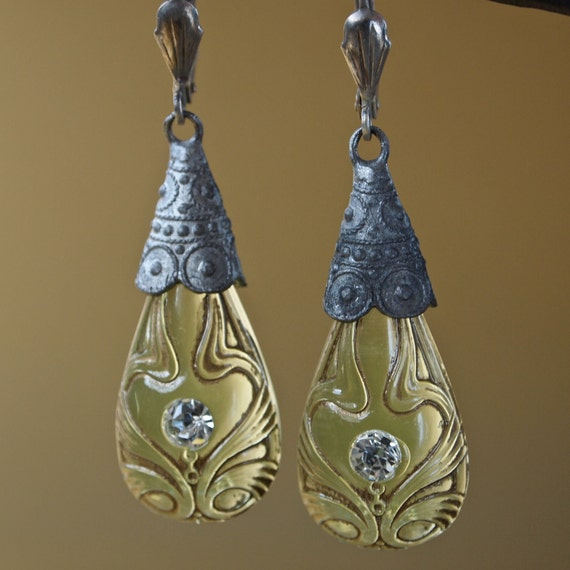 Czech Art Nouveau Chartreuse Molded Glass Drops with Rhinestone Center and Silver Tone Findings Earrings Marked Signed