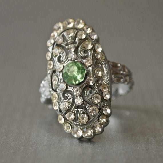 Art Deco Silver Rhodium plate rhinestone ring with Peridot Color Center size 5.75-6