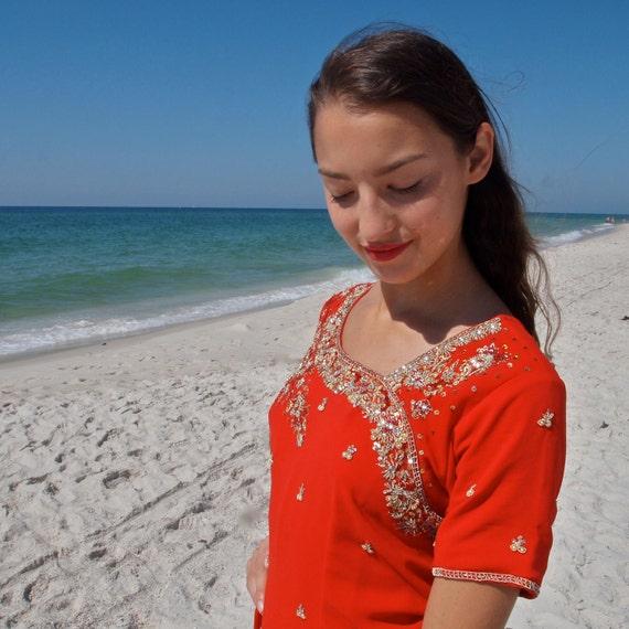 Red Chiffon Gold Beaded 3 Piece Indian Princess Outfit Kameeze Pant/Tunic/Sari