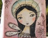 Rosa Angel. Mini 4 x 4 original painting on canvas.