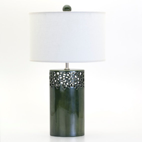 Lacey Oval Lamp in Silvered Foliage