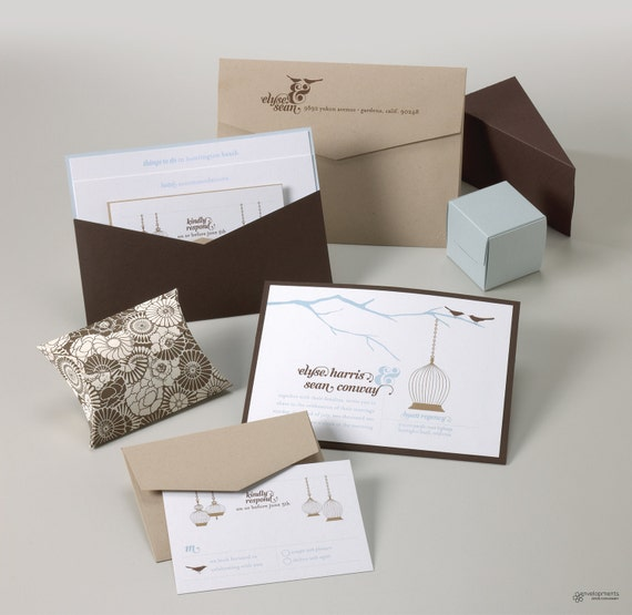 Wedding Invitations Birdcage: Items Similar To Sweet Birdcage Wedding Invitation