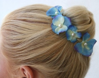 Lilac and Blue Hydrangea Hair Pins Set of Four