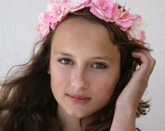 Pink and Cream Woodland Flower Headband Crown