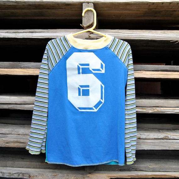 Long Sleeve Raglan Upcycled T-shirt-Size 6/7