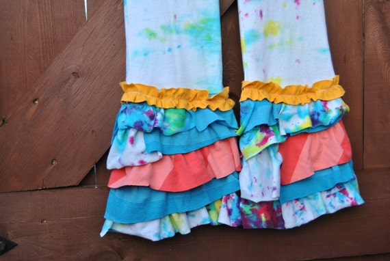 Tie Dyed Upcycled Ruffle Pants Size 6