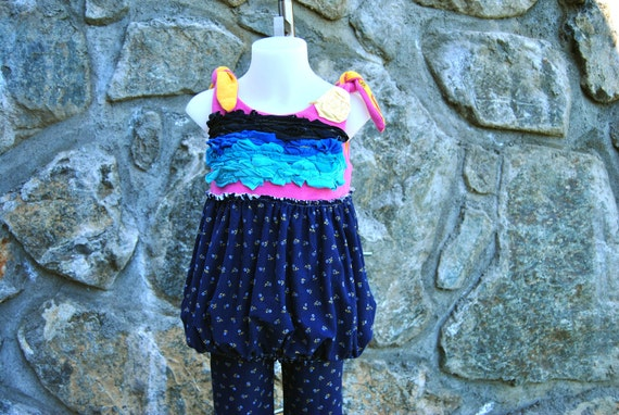 Girls Tunic with Bubble Skirt Upcycled Size 3