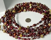 Vivid Long Red Necklace with Natural Ocean Jasper and Freshwater Pearls . Ten Feet Long . Handmade in Maine