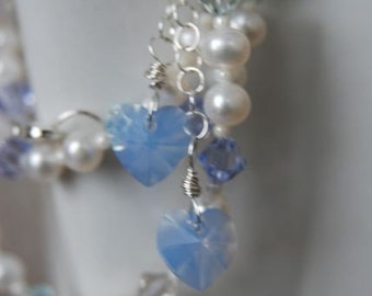 Periwinkle Crystal Heart Necklace and Earring SET with White Freshwater Pearls and Sterling Silver