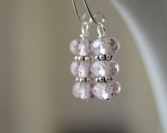 Pink Rose Quartz Earrings with Sterling Silver