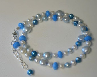 """Blue Quartz Necklace White Pearl Necklace Sterling Silver """"Sea Spray"""" Ready to Ship"""