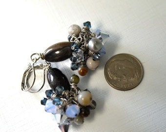 "Ocean Jasper Earrings Lavender Earrings Blue Earrings Crystal Earrings ""Clair de Lune Collection"""