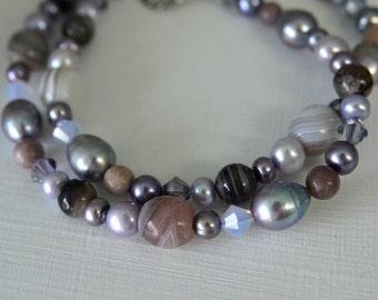 Purple Gemstone Necklace Agate Sardonyx Aventurine Lavender Violet Pearl Necklace