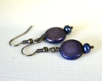 Dark Sapphire Blue Coin Pearl Earrings with Gunmetal French Hook Earwires