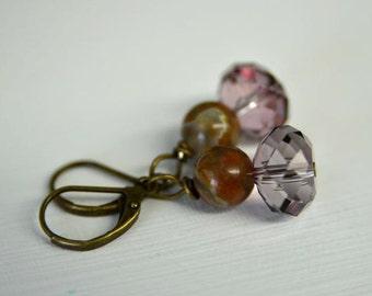 Dark Pink Crystal Earrings with Natural Rhyolite Gemstones and Antiqued Brass Leverbacks