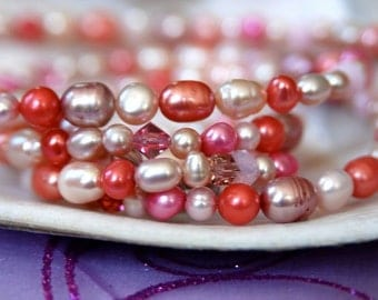 "Long Pink Pearl Necklace with Fruit Punch, Light Pink, Mauve, Salmon & Blush Freshwater Pearls . Handmade in Maine ""Everything's Rosy"""