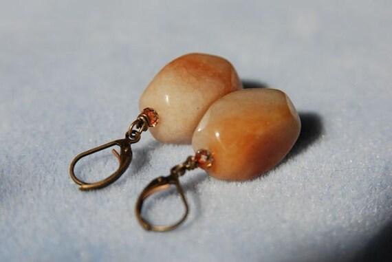 Red Aventurine Earrings . Natural Gemstone Nugget Earrings handmade in Maine from North Atlantic Art Studio