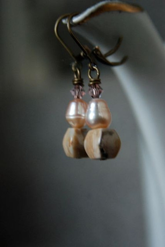 Ocean Jasper Earrings with Light Pink Freshwater Pearls and Antiqued Brass Ear Wires Handmade in Maine