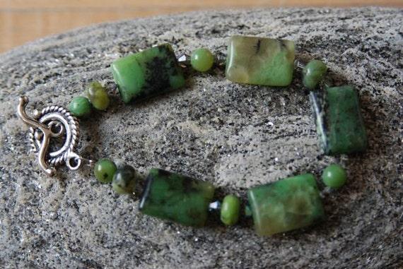 Chrysophase Bracelet Green Black Bracelet