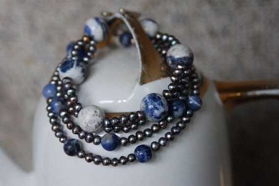 Sodalite and Grey Pearl Necklace and Bracelet Set , Natural Stone Jewelry