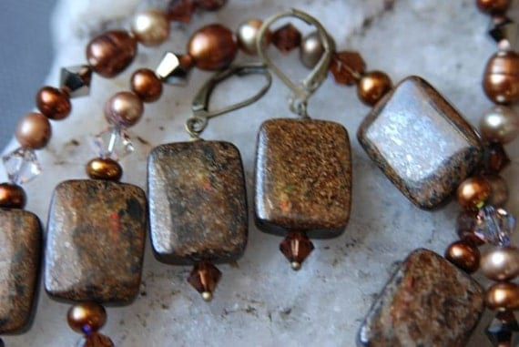 Natural Brown Gemstone Necklace and Earrings SET - Bronzite Necklace and Earrings