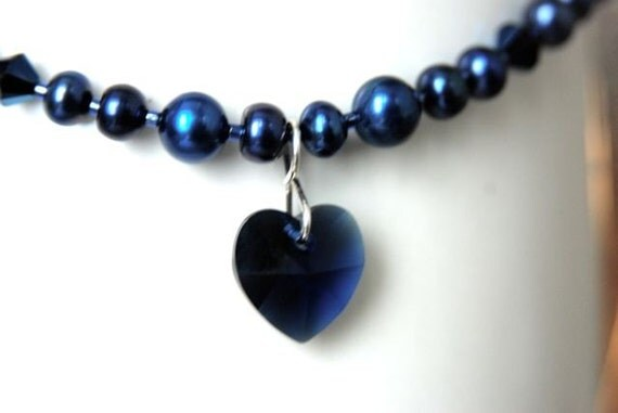 Dark Blue Heart Necklace with Navy Freshwater Pearls and Crystals . Handmade in Maine