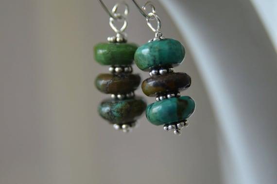 "Turquoise Earrings Gemstone Earrings Sterling Silver Earrings ""Simplicity"" Ready to Ship"