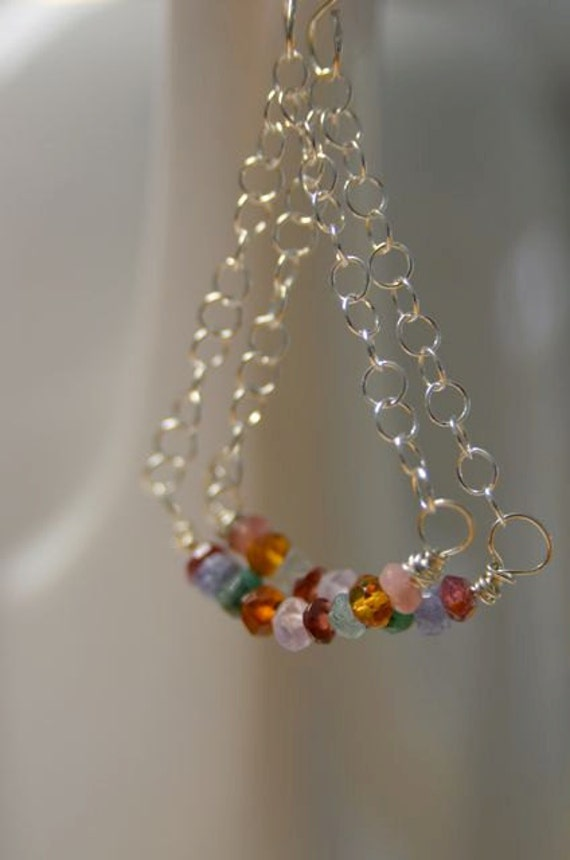 Natural Gemstone Earrings with Pink Tourmaline, Citrine, Emerald, Aqua, Garnet and Tanzanite . All Sterling Silver