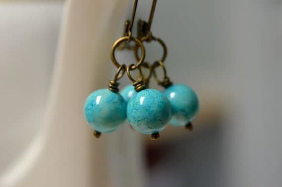 Turquoise Earrings Teal River Stone Earrings Ready to Ship