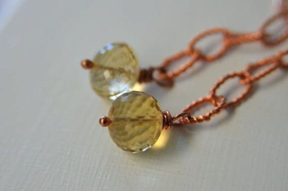 Yellow Citrine Earrings made with Long Copper Links and Lever Back Earwires   Handmade in Maine from North Atlantic Art Studio