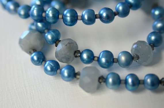 """Aquamarine Necklace and Earring SET with Blue Grey Pearls and Sterling Silver .  """"Stormy Sea"""" Handmade in Maine"""
