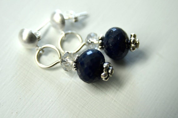 Dark Blue Faceted Sapphire Earrings with Sterling Silver Posts . Handmade in Maine from North Atlantic Art Studio