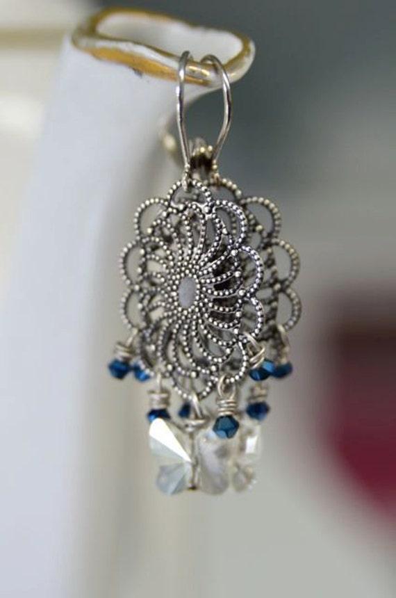 Filagree Butterfly Earrings Blue White