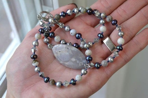 "Grey Necklace Ocean Jasper Necklace Pearl Necklace ""Clair de Lune Collection"""