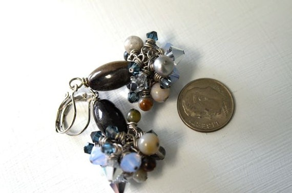 "Ocean Jasper Earrings Lavender Earrings Blue Earrings Crystal Earrings ""Clair de Lune Collection"""