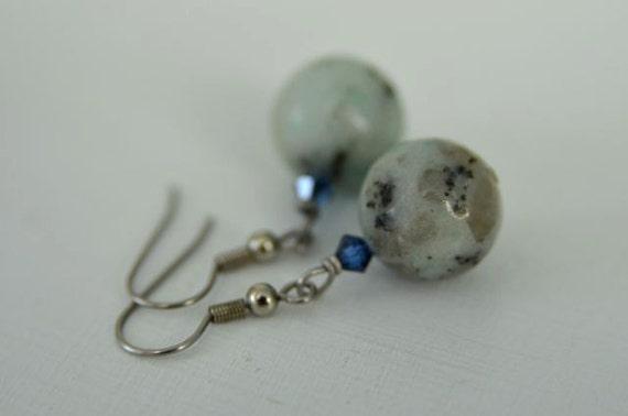 Mint Green Sesame Jasper Earrings with Blue Crystals