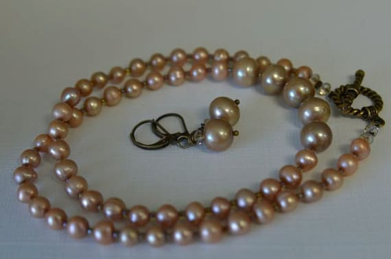 Light Brown Pearl Necklace & Earrings SET made with khaki and bamboo Freshwater Pearls Handmade in Maine