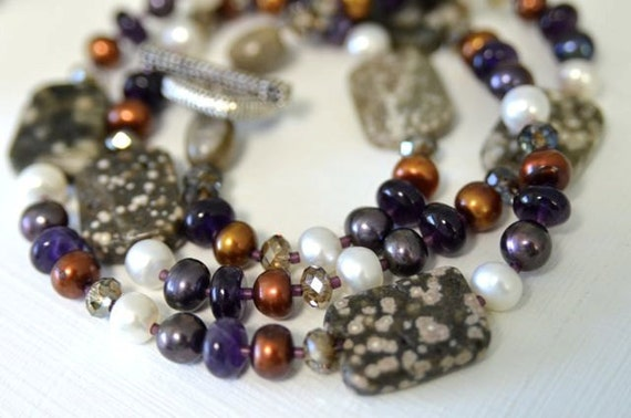 Amethyst Necklace Ocean Jasper Necklace Brown Purple White Ready to Ship