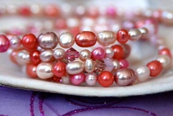 """Long Pink Pearl Necklace with Fruit Punch, Light Pink, Mauve, Salmon & Blush Freshwater Pearls . Handmade in Maine """"Everything's Rosy"""""""