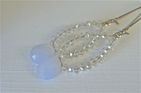 Long Periwinkle Chalcedony Earrings with Silver Shade Crystals Natural Color German Chalcedony