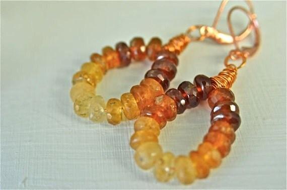 Hessonite Garnet and Copper Earrings Wire Wrapped Gemstone Earrings for Women January Birthstone